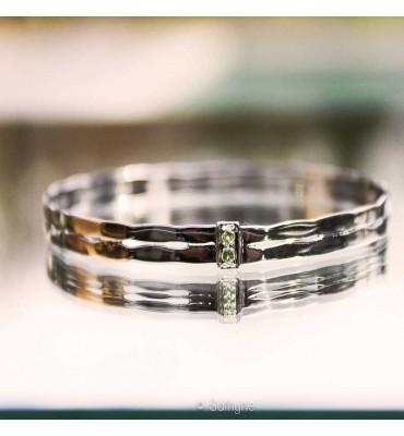 Bracelet minéral argent 925 rhodié, péridot