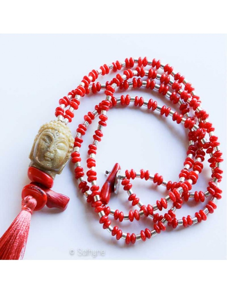collier meditation corail turquoise sathyne