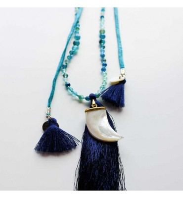 MauÏ Necklace choker tooth and blue agate