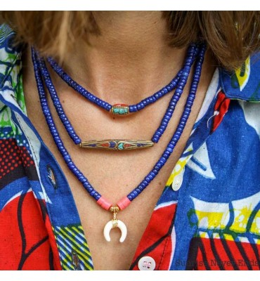 Collier African Mama, keishi, turquoise corail