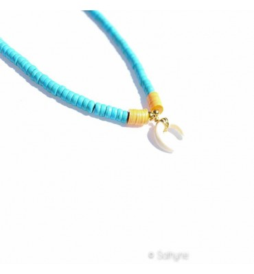 Collier Corne Africa turquoise