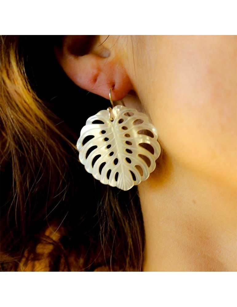 earrings Forest mother of pearl monstera