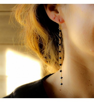Black beads long earrings