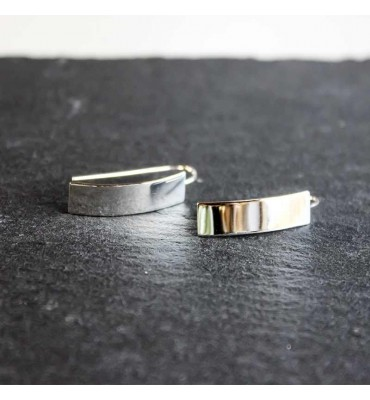 Square, silver, Earrings