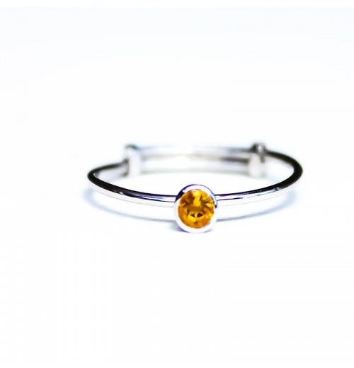 Single silver ring citrine