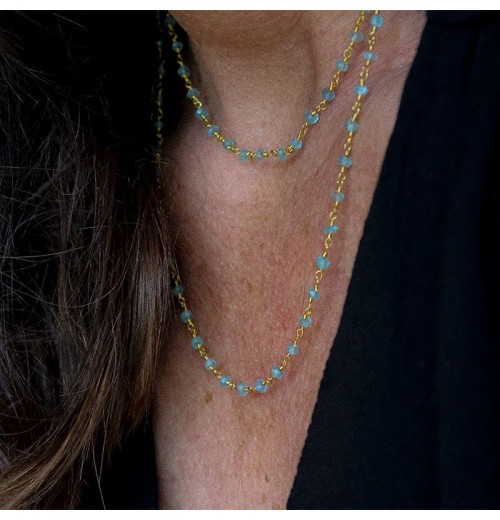 Apatite beads, necklace