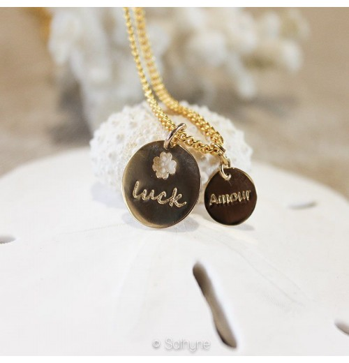 "Collier chaine médaille ""luck"""