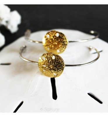 Sand dollar, hoops, gold