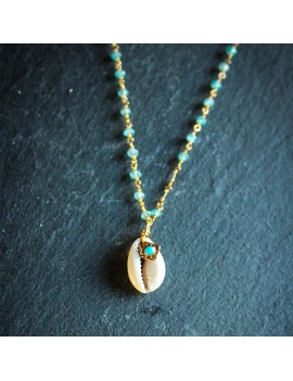 Collier, cauri, turquoise