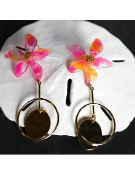 boucles d'oreilles, flowers tropical, Sathyne