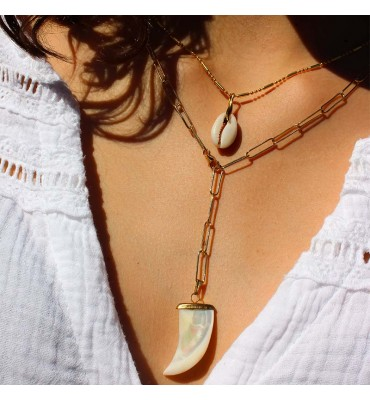 collier, maille, or, nacre, sathyne, bijoux