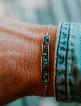 bracelet abalone argent, ajustable, sathyne bijoux