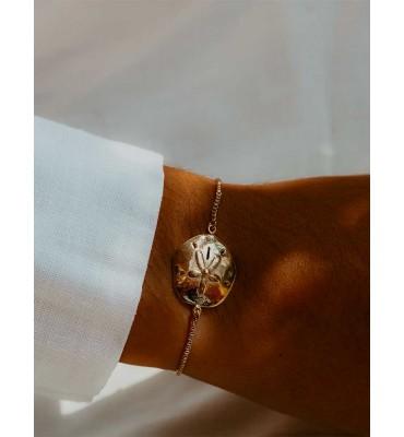 bracelet, dollar des sables, vermeil, argent plaqué or