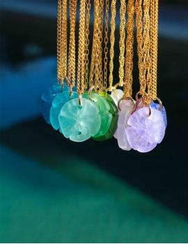 collier, dollar des sables, verre dépoli, sathyne bijoux