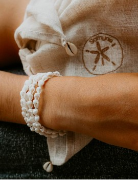 bracelet coquillages blancs, sathyne