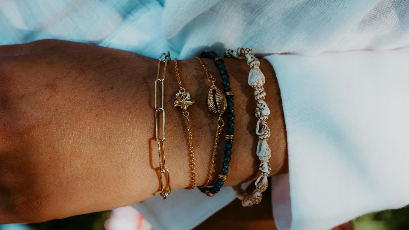 bracelets, sathyne, bijoux, saphir, coquillages, vermeil, nacre