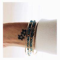 Choix du jour..... Gling gling au poignet que j'aime ce bruit!!!! Mélange de joncs or et bracelets en pierres fines. De l'or comme le soleil, du bleu tel que le ciel 🥰 Ok trop facile ma comparaison 😂 je sors!!!! ⠀⠀ Belle journée 💋 ⠀⠀ #sathynebijoux #bracelet #mumptreneurs #creatricebijoux #bijoux